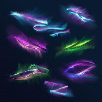 Aurora borealis polar lights illustratie van noordelijke of zuidelijke licht schijnen in de nachtelijke hemel.