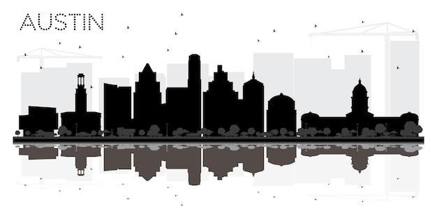 Austin texas city skyline zwart-wit silhouet met reflecties. vector illustratie. eenvoudig plat concept voor toeristische presentatie, banner, plakkaat of website. austin cityscape met bezienswaardigheden.