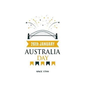 Australia day-groetbanner met tekst en vuurwerk