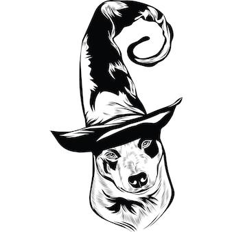 Australian cattle dog dog met heksenhoed voor halloween