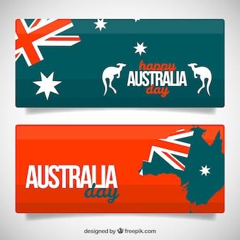 Australië dag banners met vlaggen en kangoeroes