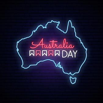 Australië dag neon kaart.