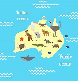 Australië dieren wereldkaart voor kinderen.