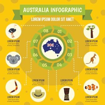 Australië infographic concept, vlakke stijl Premium Vector