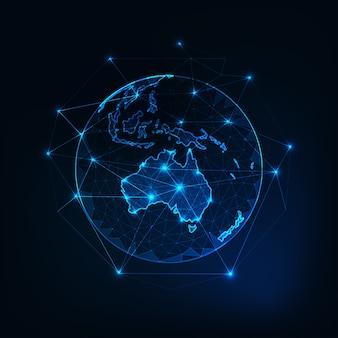 Australië kaart continent op planeet aarde uitzicht vanuit de ruimte.