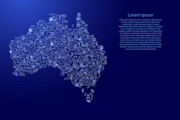 Australië kaart van blauwe en gloeiende sterren pictogrammen patroon set seo analyse concept of ontwikkeling, business. vector illustratie.