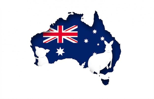 Australië. ontwerp met kangoeroe en koala op de vlagachtergrond van australië.