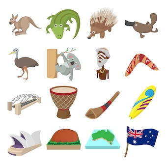 Australië pictogrammen in cartoon stijl voor web en mobiele apparaten