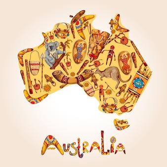 Australië schets gekleurde illustratie