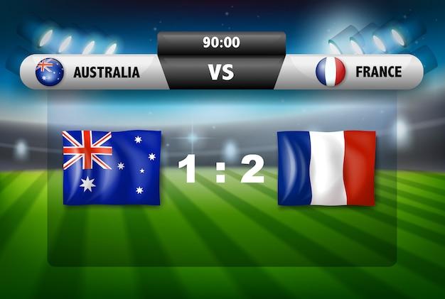 Australië versus frankrijk scorebord