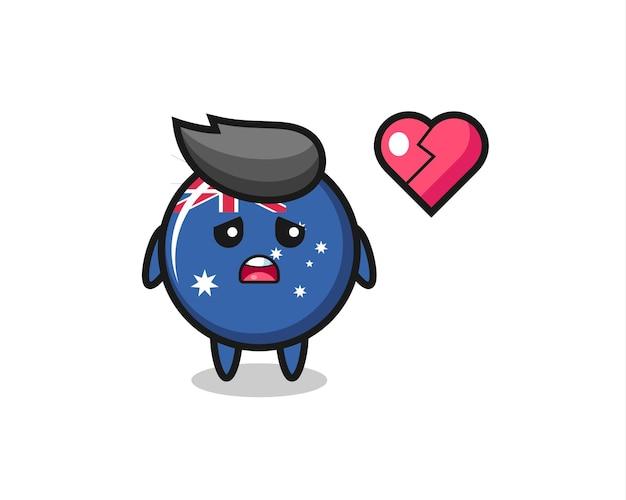 Australië vlag badge cartoon afbeelding is gebroken hart, schattig stijl ontwerp voor t-shirt, sticker, logo-element