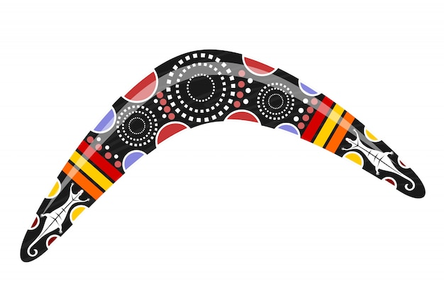 Australische boemerang. cartoon boemerang tribal
