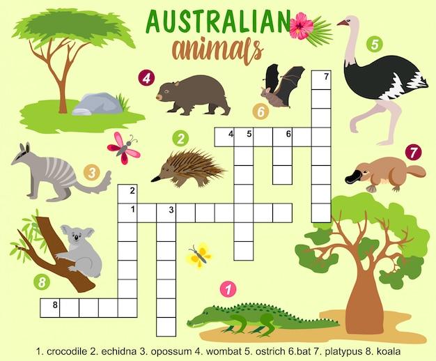 Australische dieren kruiswoordraadsel