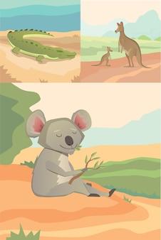 Australische dieren vector krokodil, koala en kangoeroe vlakke stijl.