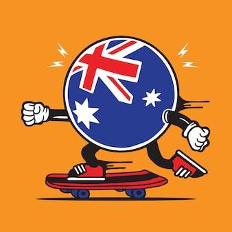 Australische vlag pictogram skate skateboard characterdesign