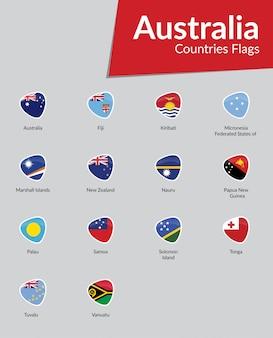 Australische vlaggen icoon collectie