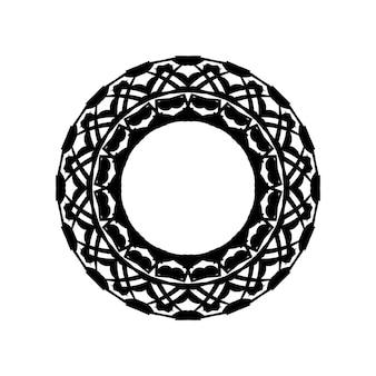 Australische volkskunst boho ornament in zwart op witte achtergrond abstracte zwart-wit mandala met stippen