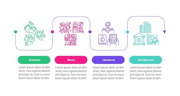 Auteursrechtelijk beschermde items vector infographic sjabloon. muziek, architectuur presentatie ontwerpelementen. datavisualisatie met 4 stappen. proces tijdlijn grafiek. workflowlay-out met lineaire pictogrammen