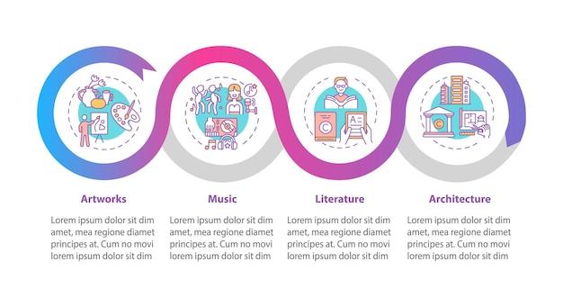 Auteursrechtelijk beschermde werkt infographic sjabloon. kunstwerken, literatuurpresentatie ontwerpelementen.