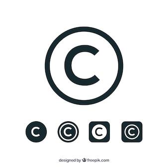 Auteursrechtsymbool in vlakke stijl