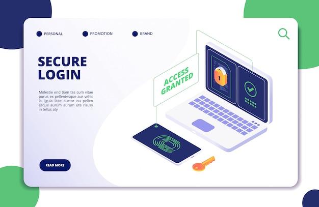 Authenticatie en authorisatie. duo internet identiteit, veiligheid multi wachtwoord. authentiek isometrisch 3d concept