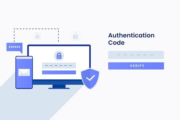 Authenticatiecode illustratie voor site. illustratie