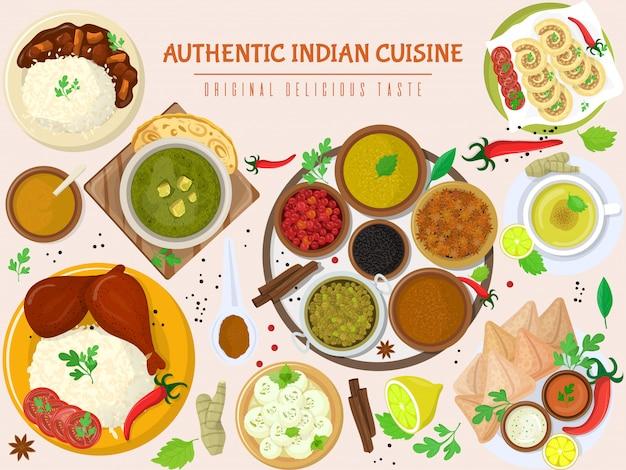Authentiek indiaas eten, originele heerlijke smaak banner, illustratie. kruidig aziatisch levensmiddel, pikante smaak maaltijdproduct.