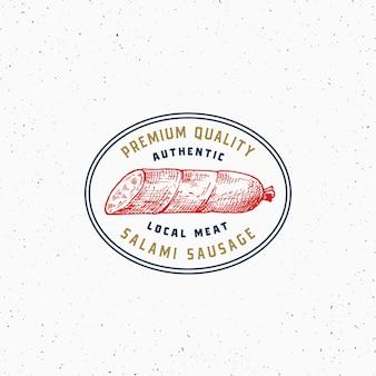 Authentieke kwaliteit salami vintage typografie label, embleem of logo sjabloon.