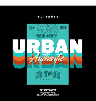 Authentieke urban streetwear afdrukbare tshirt teksteffect bewerkbare premium vector