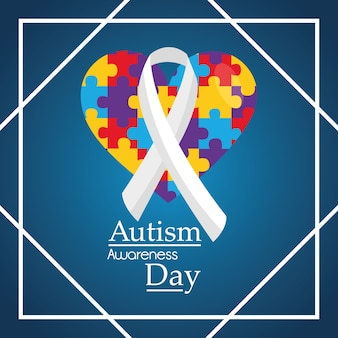 Autisme bewustzijn dag wenskaart uitnodiging evenement