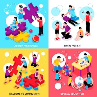 Autisme bewustzijn isometrische illustratie set met gedragsproblemen en ziekte speciaal onderwijs en gemeenschap