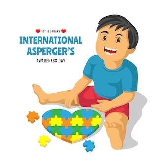 Autisme met kleurrijk hart van puzzelstukjes. vector illustratie