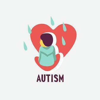 Autisme. vroege tekenen van autisme bij kinderen. vector embleem. kinderen autisme spectrum stoornis asd icoon. tekenen en symptomen van autisme bij een kind.