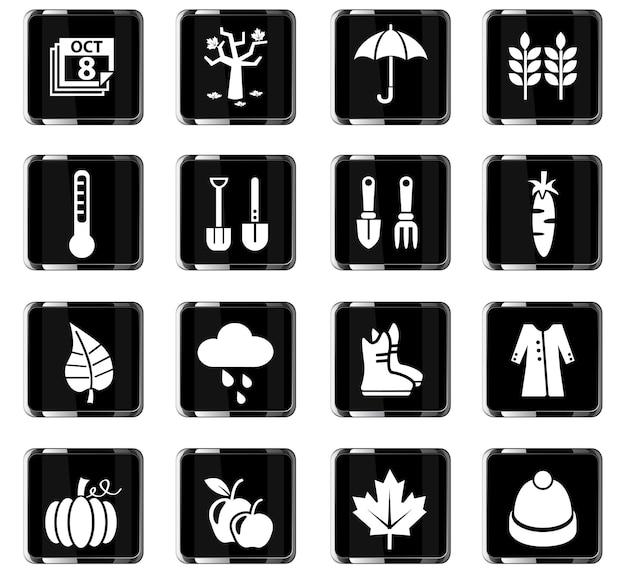 Autmn-webpictogrammen voor ontwerp van gebruikersinterface