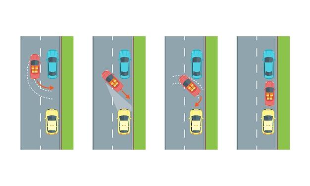 Auto achteruit parkeren met pijl en lege plaats