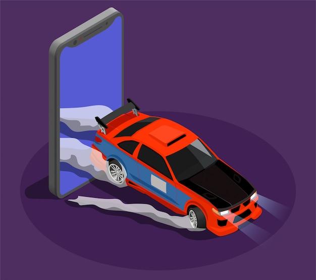 Auto afstemmen isometrisch concept dat driftrace symboliseert door burn-outauto die het scherm van smartphone verlaat