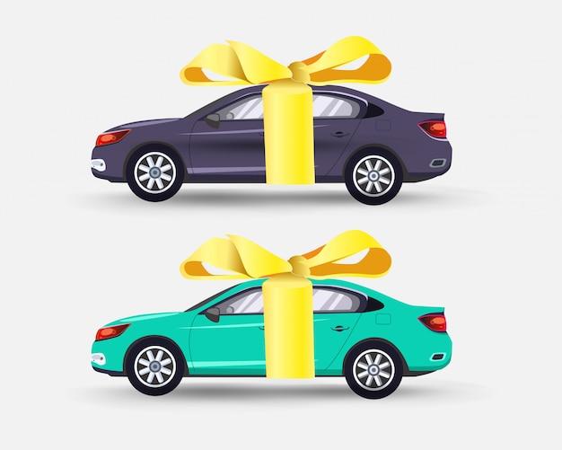 Auto als cadeau met een gele strikset