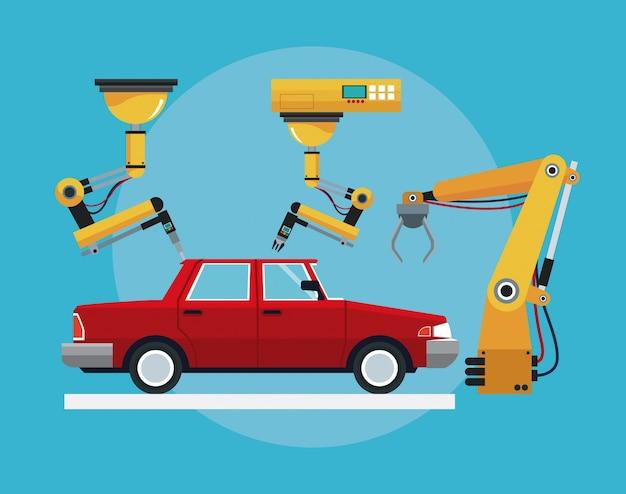 Auto assemblage industriële robotachtige productielijn