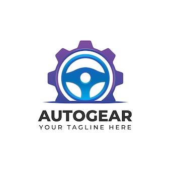 Auto-autoservicestuur met versnellingsillustraties vormlogo