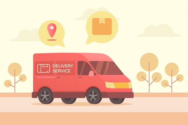 Auto busje met een box tracking locatie met gps-boom en cloud