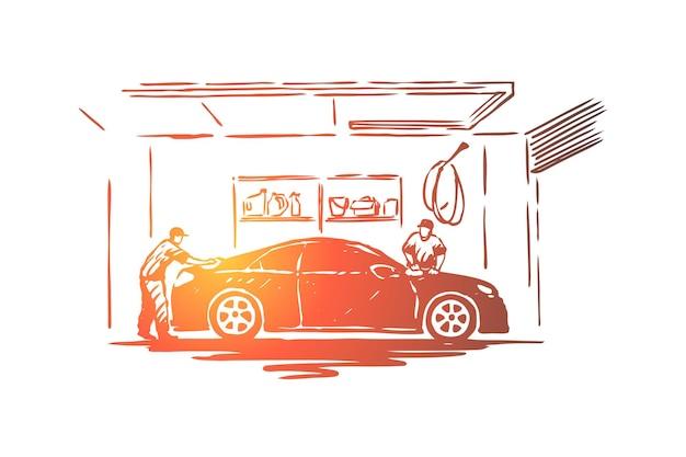 Auto care station werknemers, onderhoudsmedewerker reiniging transport voertuig illustratie