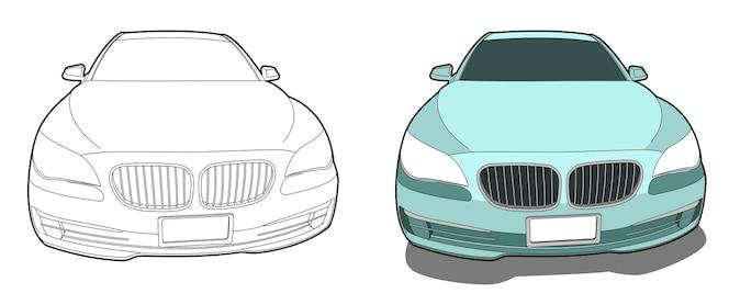 Auto cartoon kleurplaat voor kinderen