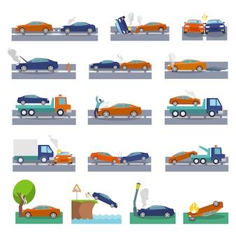 Auto crash en ongelukken pictogrammen ingesteld met botsing brandoverstroming verzekering evenementen vector illustratie