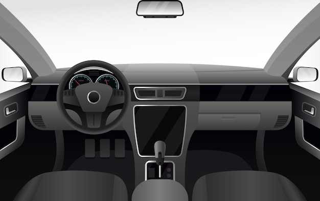 Auto dashboard, auto salon interieur illustratie. auto cabine cartoon met windshiel