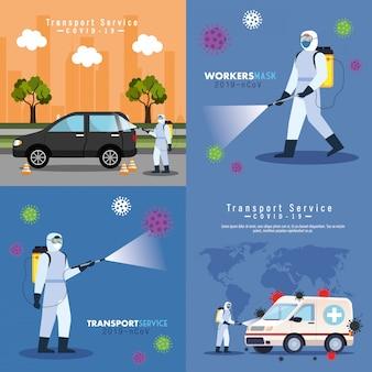 Auto desinfectie service, preventie coronavirus, schone oppervlakken in auto met desinfecterende spray, personen met biologisch gevaarlijk pak