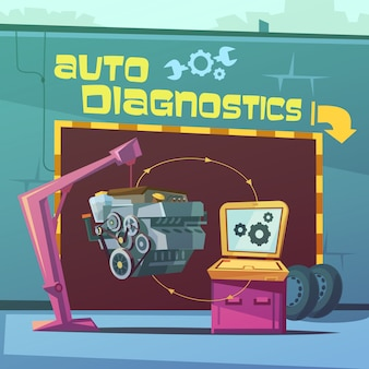 Auto diagnostiek cartoon achtergrond