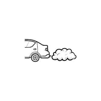 Auto die uitlaatgassen uitstoten hand getrokken schets doodle pictogram. ecologie en milieuvervuiling, verkeersconcept. schets vectorillustratie voor print, web, mobiel en infographics op witte achtergrond.