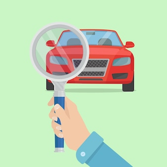 Auto dienstverleningsconcept. man hand met vergrootglas selectievakje auto. voertuig diagnose.