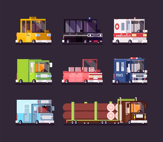 Auto en bus pixelart set. de politiewagen van vervoerpictogrammen en gele taxi geïsoleerde vector.