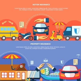 Auto en eigendomsbescherming horizontale banners